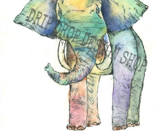 Colorful Watercolor Elephant Painting (Print)(8x10)