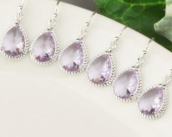 Lavender Earrings SET OF 5 - Bridesmaid Jewelry Set - Bridesmaid Earrings - Bridesmaid Gifts Jewelry - Wedding Jewelry Set - Crystal Earring