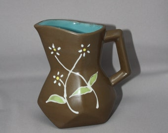 Vintage Small Brown Ceramic Vase with Daisy Flowers