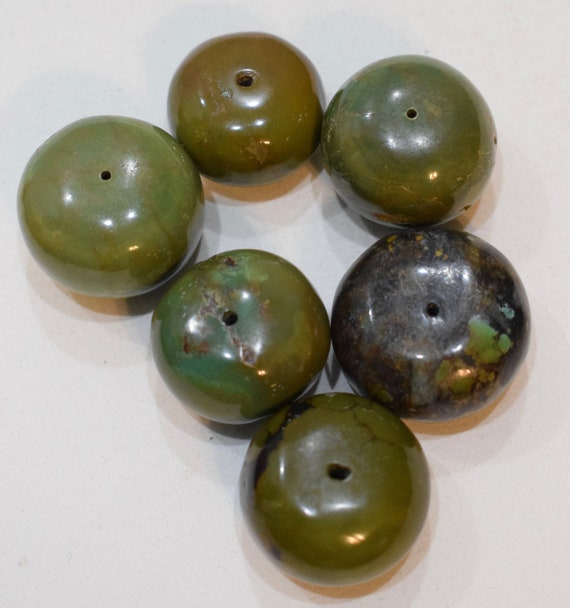 Beads Chinese Assorted Turquoise Large Round Rondelle Beads 25mm - 30mm
