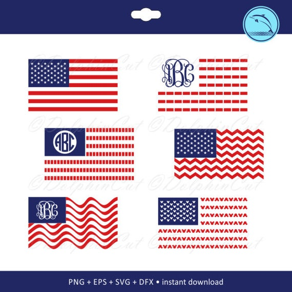 American Flag Monogram Frames, red silhouette for cutting, scrapbook ...