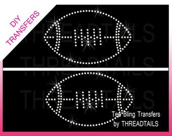 2 transfers nail tech rhinestone or rhinestud bling diy iron ons two football rhinestud or rhinestone transfer diy iron ons do it yourself bling hot fix appliques for shirts totes football mom sports solutioingenieria Gallery