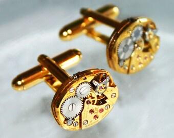 BULOVA Men Steampunk Cufflinks -17J Gold VTG Watch Movement Matching Men Steampunk Cufflinks Cuff Links Watch Cufflinks Men Wedding Gift