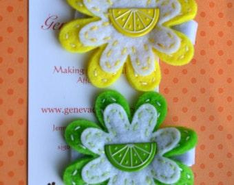 Lemon-Lime...Set of 2 Citrus Felt Flower Clips