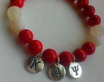 Kappa Alpha Psi Inspired Gemstone Bracelet, stretch, beaded, red and white, HBCU, greek gifts, Kappa gift, men's, Jade, 10mm