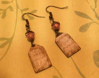 Vintage Style. Mixed Media. Cottage Chic Dangle Earrings