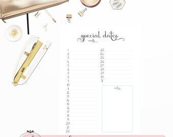 """SPECIAL DATES PAGE   Planner Printable Inserts A5   """"Darling Planner Collection"""""""