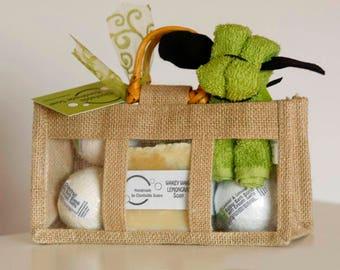Artisan soap and bubble bath bomb Gift Bag - palm free - vegan friendly - sls free - paraben free