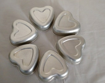 ON SALE. vintage heart tart tins, set 6 matching, vintage baking, collectables, french country cottage