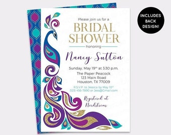 JUNE SALE Peacock Bridal Shower Invitation - Peacock Feather Wedding Shower Invite - Royal Blue Plum & Gold Elegant Bridal Brunch Invitation