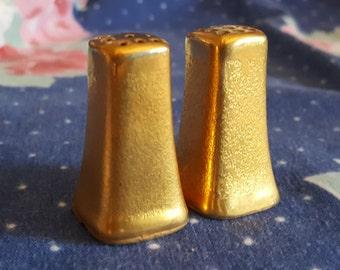Gold Salt Pepper Shakers Porcelain Textured by Stouffer Set Fancy Shaker Pair FS