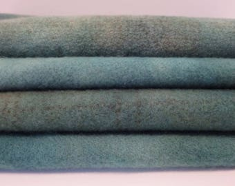 AQUA hand dyed and felted wool for rug hooking, wool applique, and other fiber arts projects