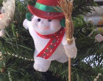 Vintage Flocked Snowman  Christmas Tree Ornament