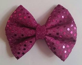 Sparkly Fuschia Bow Tie