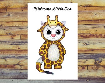 Cat Printable New Baby Card, Digital Download, Cute Baby Shower Card, Welcome Little One, Baby Girl Card, Instant Download, Welcome Baby