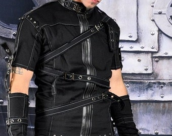 Apocalypse Gothic Industrial Rivethead Cyber Punk Tattered Burning Man Top Male