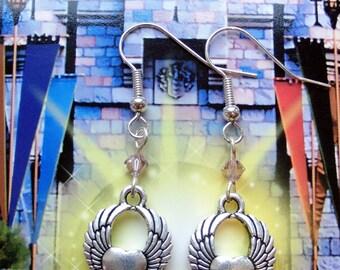 Winged heart charm earrings, Wing heart earrings, heart earrings, bohemian jewellery, Swarovski crystal earrings, gift for her UK