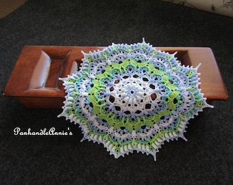 Highly textured handmade crocheted doily