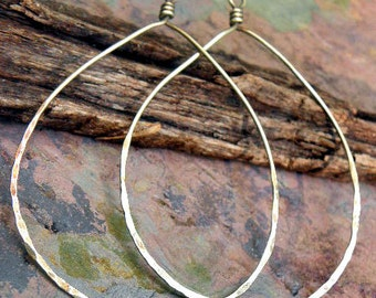 Brass Teardrops 2 inch wide, natural or antiqued, handmade findings, PurpleLilyDesigns