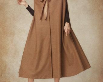 Wool Cloak Coat, Hooded Cashmere Coat Jacket, Wool Coat Cape, Winter Women Coat, Camel Coat, Maxi Coat