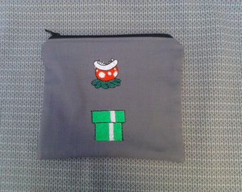 Mario Piranha Plant Embroidered Zipper Pouch