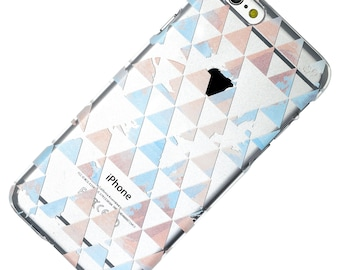 Watercolor Triangles Design Blue Pink Transparent Clear Phone Case iPhone 6, 7, SE, 6 Plus, 7 Plus, 6S, 5, 5S, Galaxy S6, S7, Note 5, Note 7