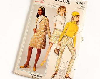 Vintage 1960s Girls Size 12T Mod Jacket A-line Skirt and Slim Pants Butterick Sewing Pattern 4461 Complete / bust 32 waist 25