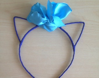 MaryS  Handmade Hoop One Central Turquoise Fabric Flower Hair Band