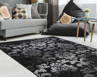 Area Rugs Abstract Black Carpet Rugs 4x6 5x8 7x10 8x11