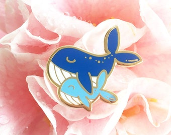 Mommy & Me Whale - Hard enamel pin - kawaii accessories, cute enamel pin, whale lapel pin, cute whale enamel pin, mama bear pin, mama pin