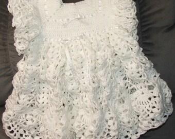 White Pinafore Crochet Dress