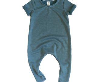 Blue Ribbed Romper | Short sleeve romper, harem romper, baby onesie, solid romper