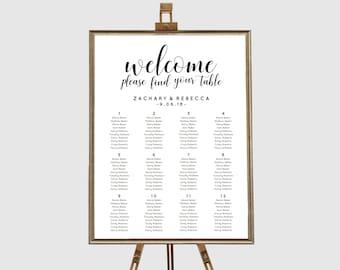 Reception seating chart,  Rustic wedding seating chart template, Editable pdf, Wedding table plan, Printable seating chart printable