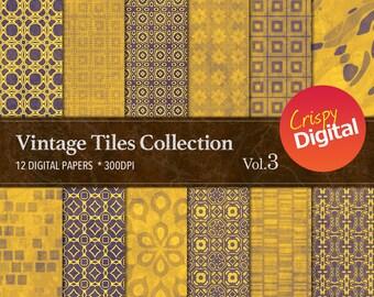 Gold Digital Papers Vintage Tiles 12pcs 300dpi Digital Download Collage Sheets Scrapbooking Gold Printable Paper