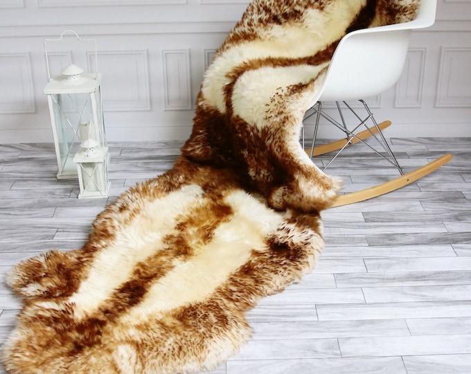 Double Sheepskin Rug | Long rug | Shaggy Rug | Chair Cover | Runner Rug | Brown Rug | Carpet | Brown Sheepskin | Brown Sheepskin
