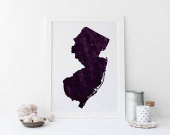 New Jersey Art, Printable Watercolor, 11x17