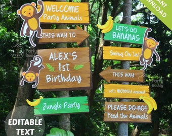 Monkey Jungle Party Welcome Sign   Text EDITABLE Yourself   Go Bananas Party Signage Birthday Decor   Digital Printable PDF Instant Download