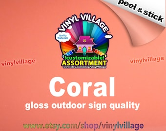 Coral Adhesive backed vinyl peel and stick outdoor sign quality great for crafts vinylvillage