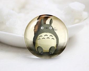 Handmade Round Totoro Photo Glass Cabochons (P3674)