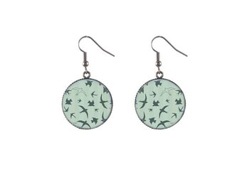 Round flock image earrings