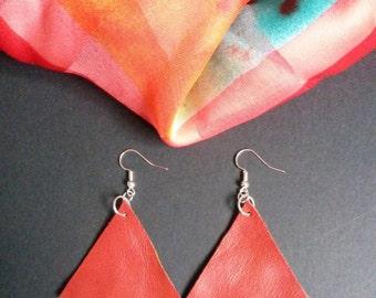 Handmade earrings, dangly earrings, triangular earrings, geometric earrings