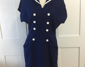 1950/60's Vintage Sailor Collar Dress TLC