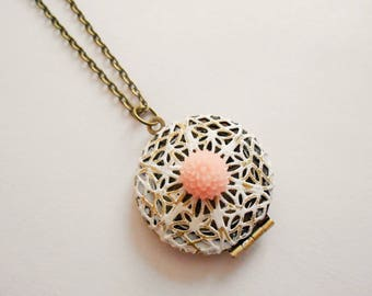 locket necklace  - photo medallion necklace -  photo pendant necklace  - flower necklace - photo medallion  - flower jewel