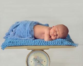 Baby Blanket Cornflower Blue Baby Blanket Newborn Photo Prop Newborn Baby Blanket Newborn Baby Boy Blanket Newborn Photography Prop Layering