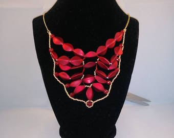 Red satin and agate bead bib necklace, seedbead necklace, chain necklace, bib necklace