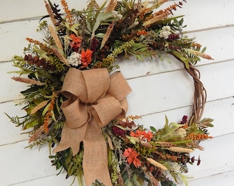 Rustic Front Door Wreath,Woodland Wreath,Year Round Wreath, Primitive Wreath,  Spring