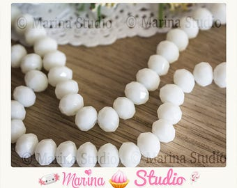 10 beads white faceted crystal glass 8mm MS54564