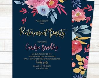 Retirement Party Invitation, Floral Retirement Party Invitation, Watercolor Retirement Invitation, Retirement Invite