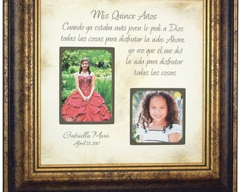 Quinceanera Frame, Mis Quince Años Picture Frame, Personalized Quince Gift, Sweet 16, Quinceañera Gift, Quinceañera Photo Frame, 16x16
