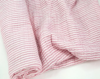 """Muslin Swaddle Blanket in Rose Pink and White Stripe - made from 100% cotton double gauze - 45"""" square"""